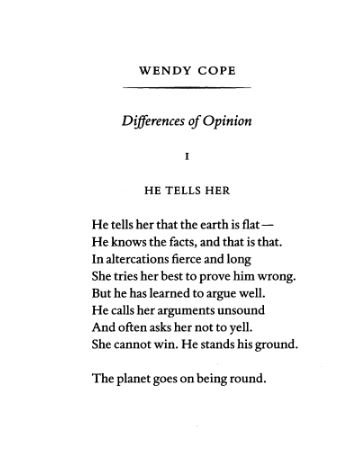 Wendy Cope nails mansplaining - before Twitter is even invented  #NationalPoetryDay