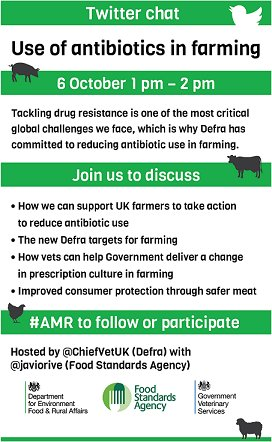 Join us today @ 1PM for a live chat on antibiotics in UK food and farming with @ChiefVetUK & @javiorive #AMR https://t.co/MnF3GfJ9O1