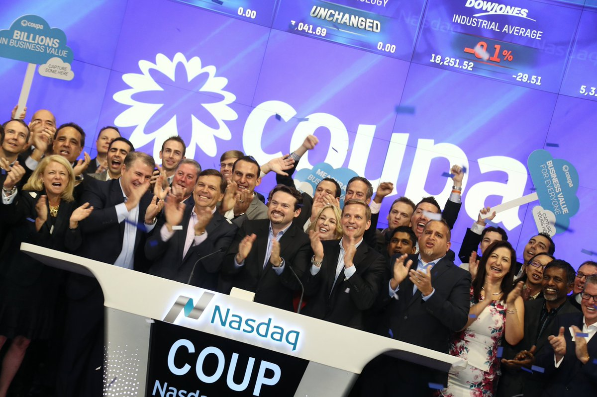 When your stock starts trading on the NASDAQ. $COUP #CoupaNow https://t.co/LMseaVm9U2