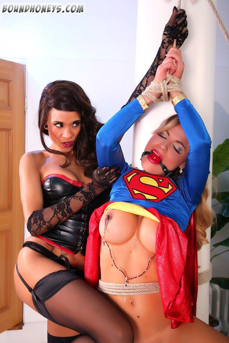Retrogirl superheroine bound