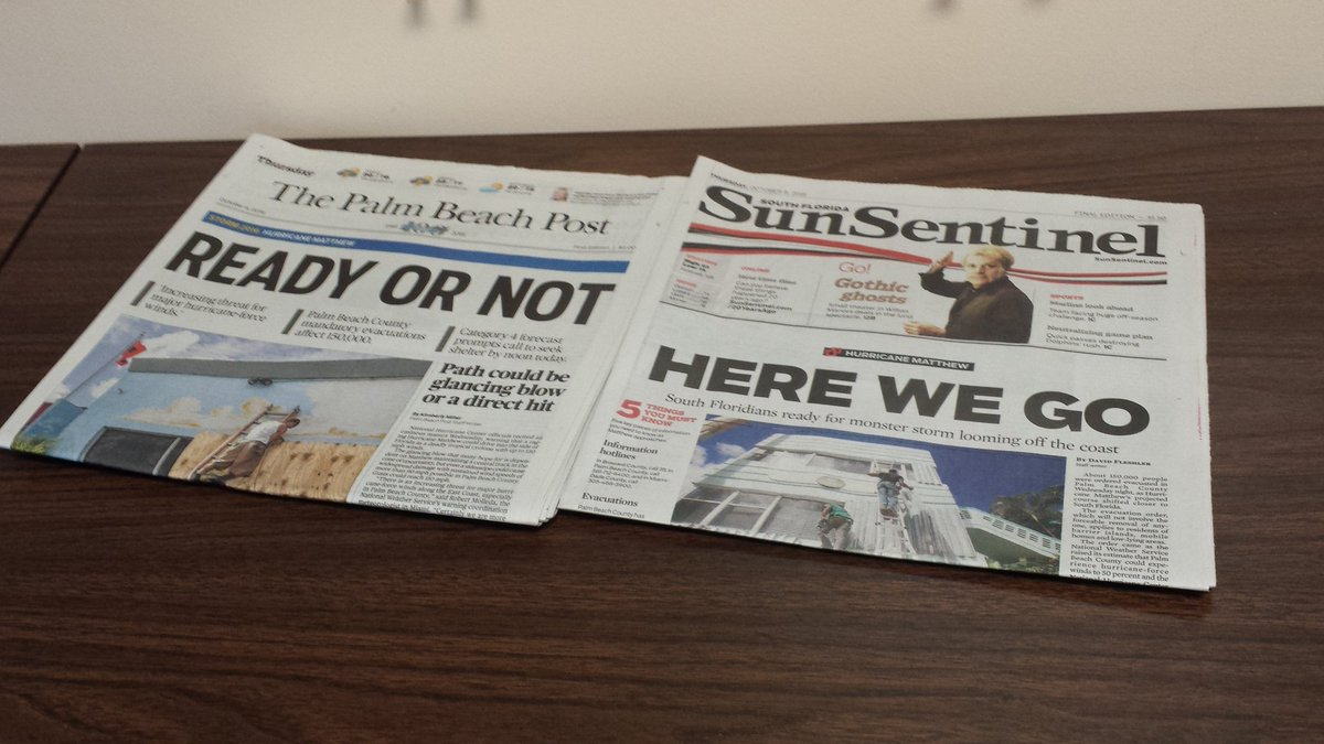 Today's front pages in Palm Beach and Broward counties #hurricane #hurricanematthew @sunsentinel https://t.co/7EFmfmWo4l