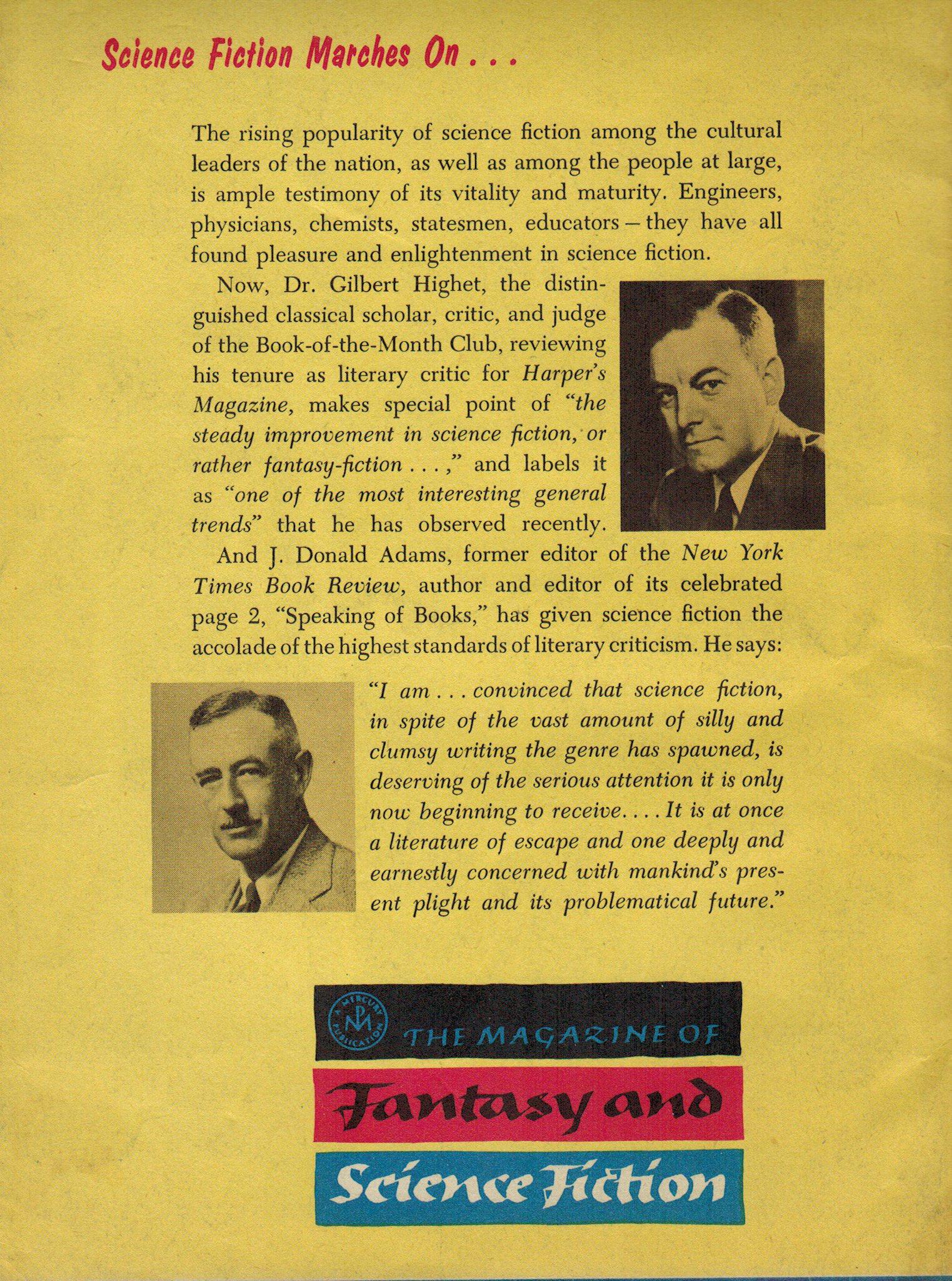 Fantasy & Science Fiction, October 1956 back cover