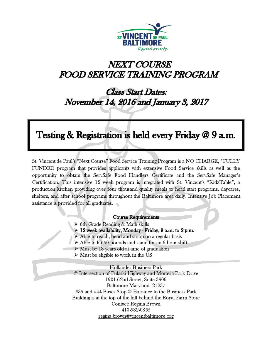 Mayor S Oed On Twitter Free Food Service Training Program Beginning Nov 14 12 Week Program Includes Certification And Job Placement Assistance For All Graduates Https T Co Paobf25wrj