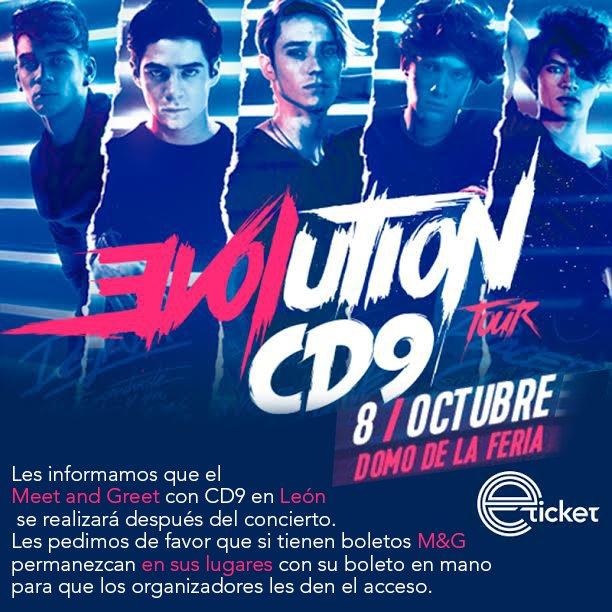 #AtentoAviso el M&G con @CD9 en #León se llevará a cabo al finalizar el concierto. https://t.co/khSKbW4Cda