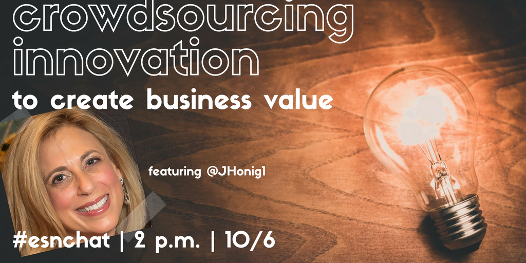 "Today on #ESNchat we're talking about ""How #Crowdsourcing #Innovation Creates Business Value"" https://t.co/2sedZhWlzP"
