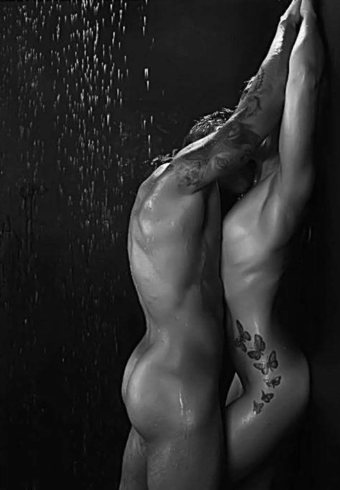 Nude Gay Couple In Black And White