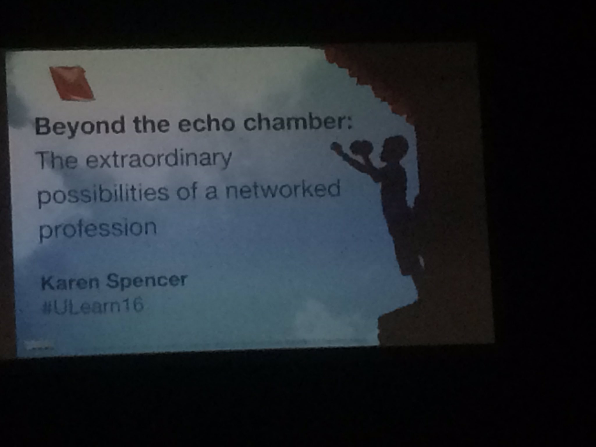 @CbwynnWynn @virtuallykaren beyond the echo #ulearn16 love the reminder to connect widely and with divergent minds https://t.co/a3d7Yp5uKH