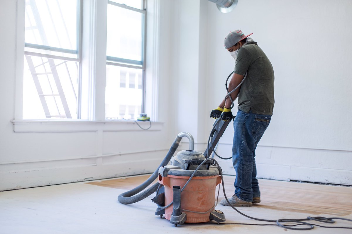 Reclaimed wooden floors is a serious art. The character it adds to interior aesthetics is worth the hours of hard work though. #huddlecowork https://t.co/qUJepILgvm