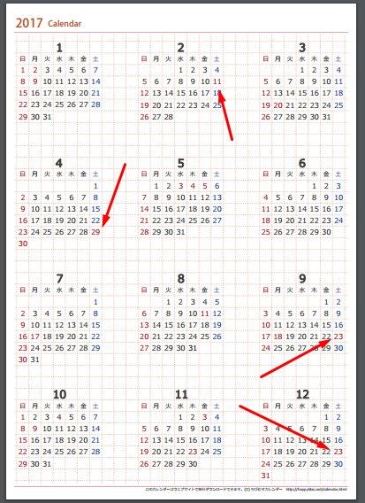 2017年のカレンダーを見て祝日が4日土曜日に喰われる事実に絶望するが良い https://t.co/2UjevWCUYa