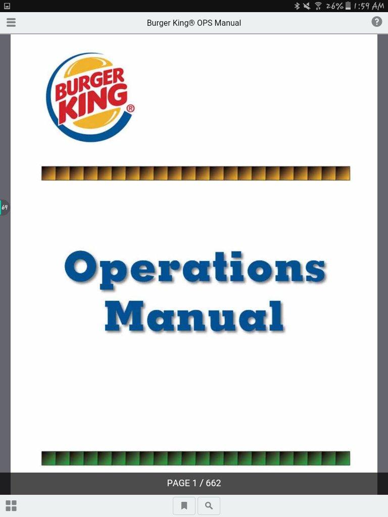 Burger king Ops manual