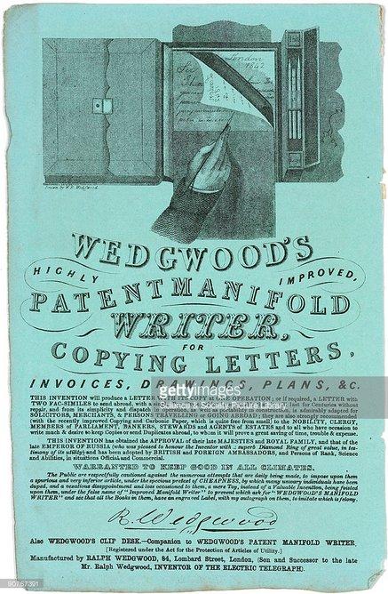 Resultado de imagen para Fotos: Ralph Wedgewood, patenta el papel carbón