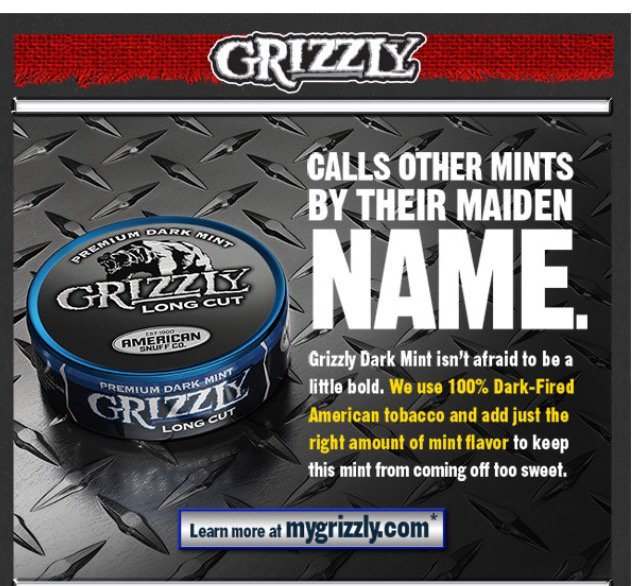 Grizzly Chewing Tobacco Ads