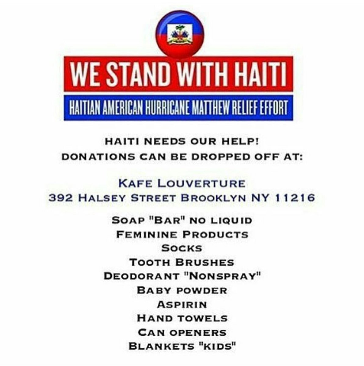 For those in NYC looking to help Haiti RT RT https://t.co/fDbFmFn3ua