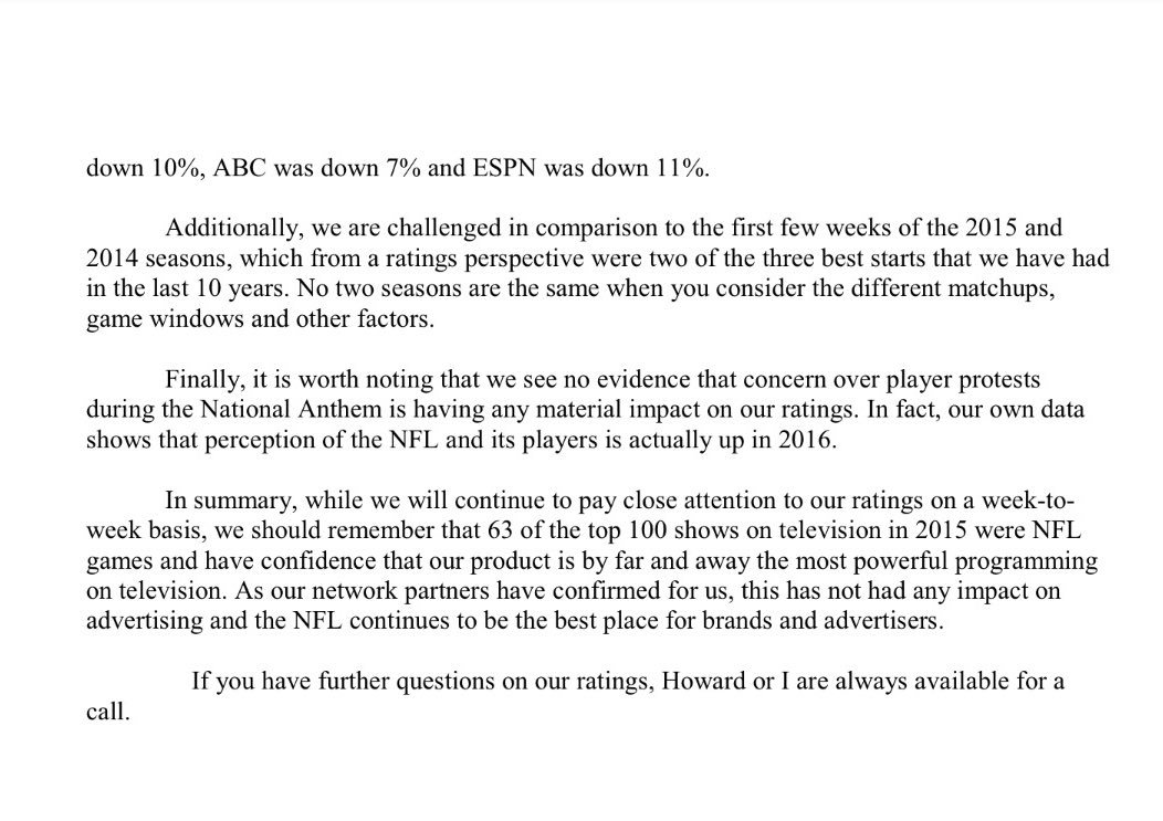 darren rovell on internal nfl memo sent to address  darren rovell on internal nfl memo sent to address concern as to why ratings this season are so far down 11%