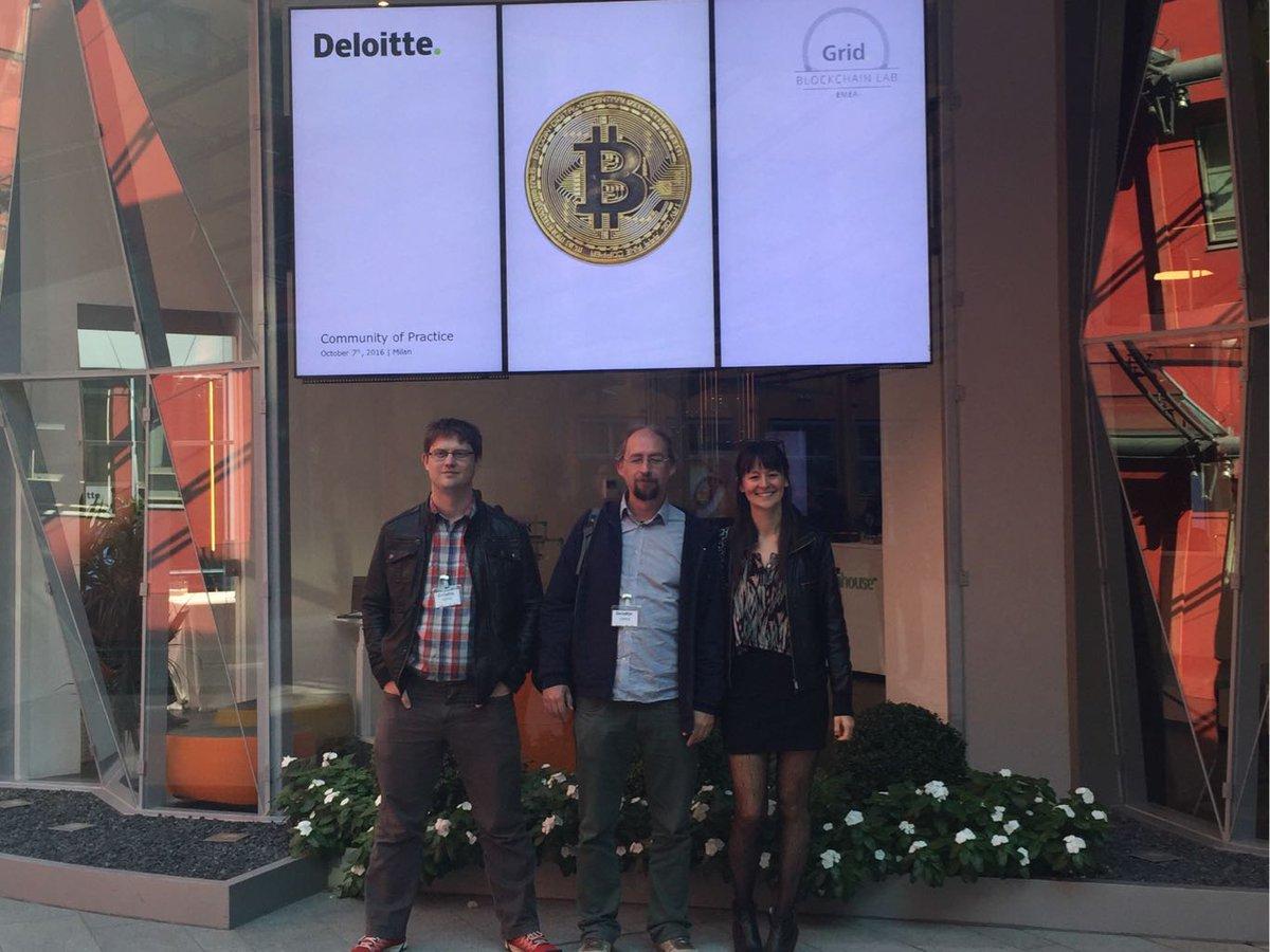 Bitcoin, not blockchain. At Deloitte with @petertoddbtc @adam3us for #scalingbitcoin Milano. https://t.co/87wbqkFv88