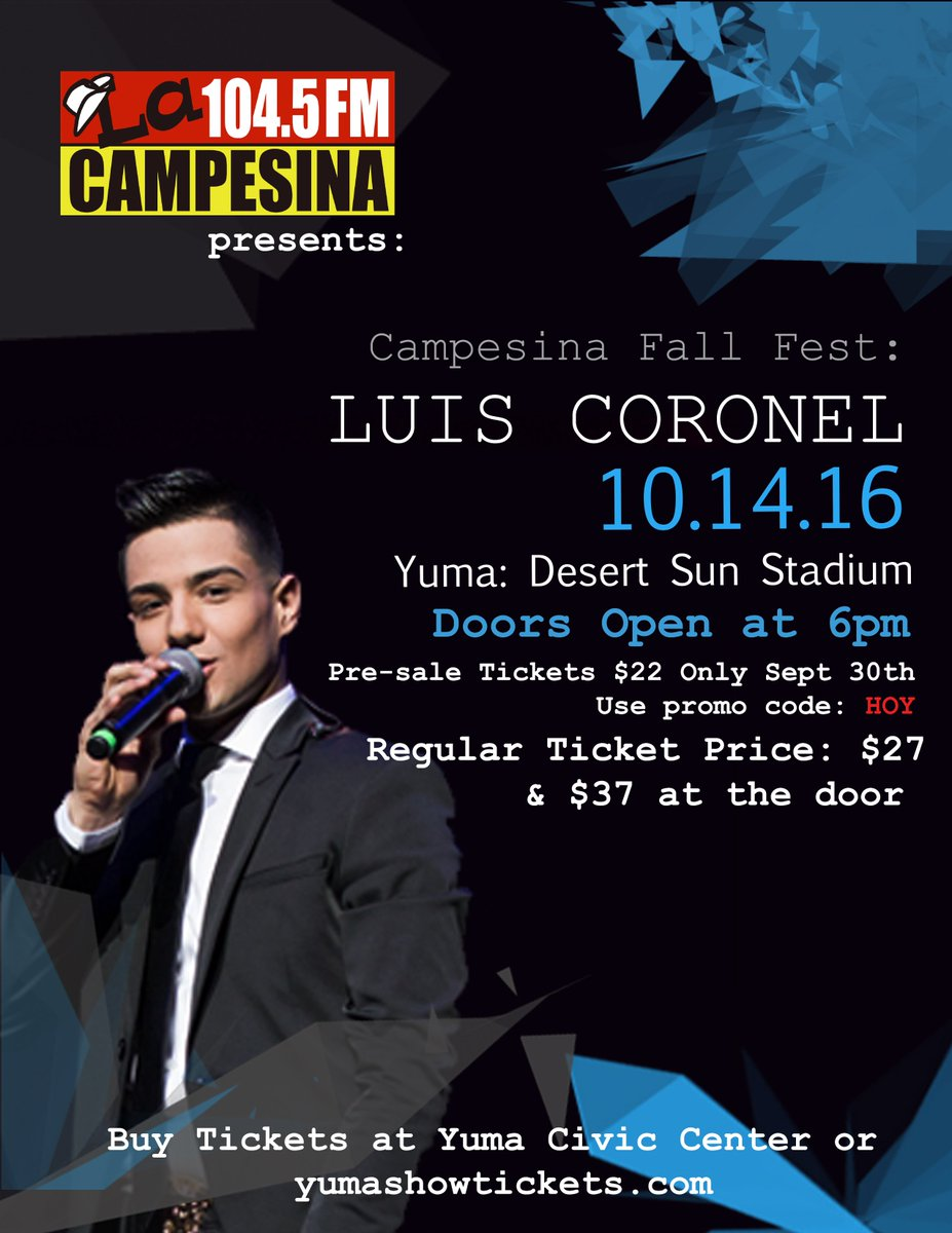 Yuma civic center on twitter call hyundai of yuma now 928 581 yuma civic center on twitter call hyundai of yuma now 928 581 4633 enter the exclusive luis coronel meet greet raffle tonight 6pm m4hsunfo