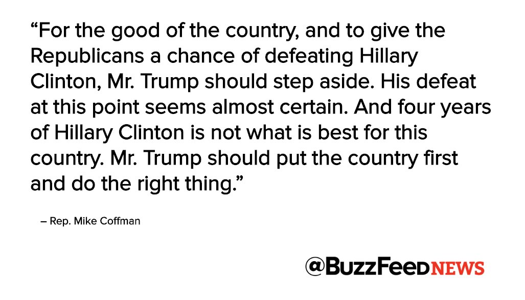 """Republican Representative Mike Coffman from Colorado calls for Trump to step down: """"Put the country first and do the right thing"""""""