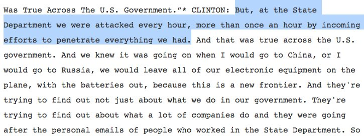 """Hillary in 2014 acknowledging she knew that """"everyone"""" was being hacked, including personal emails. https://t.co/DmcmGqx7tJ"""