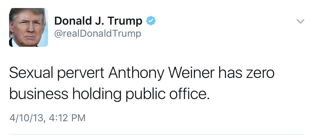 """Sexual perverts have zero business holding public office"" -@realDonaldTrump https://t.co/4NQji4Xfgk"