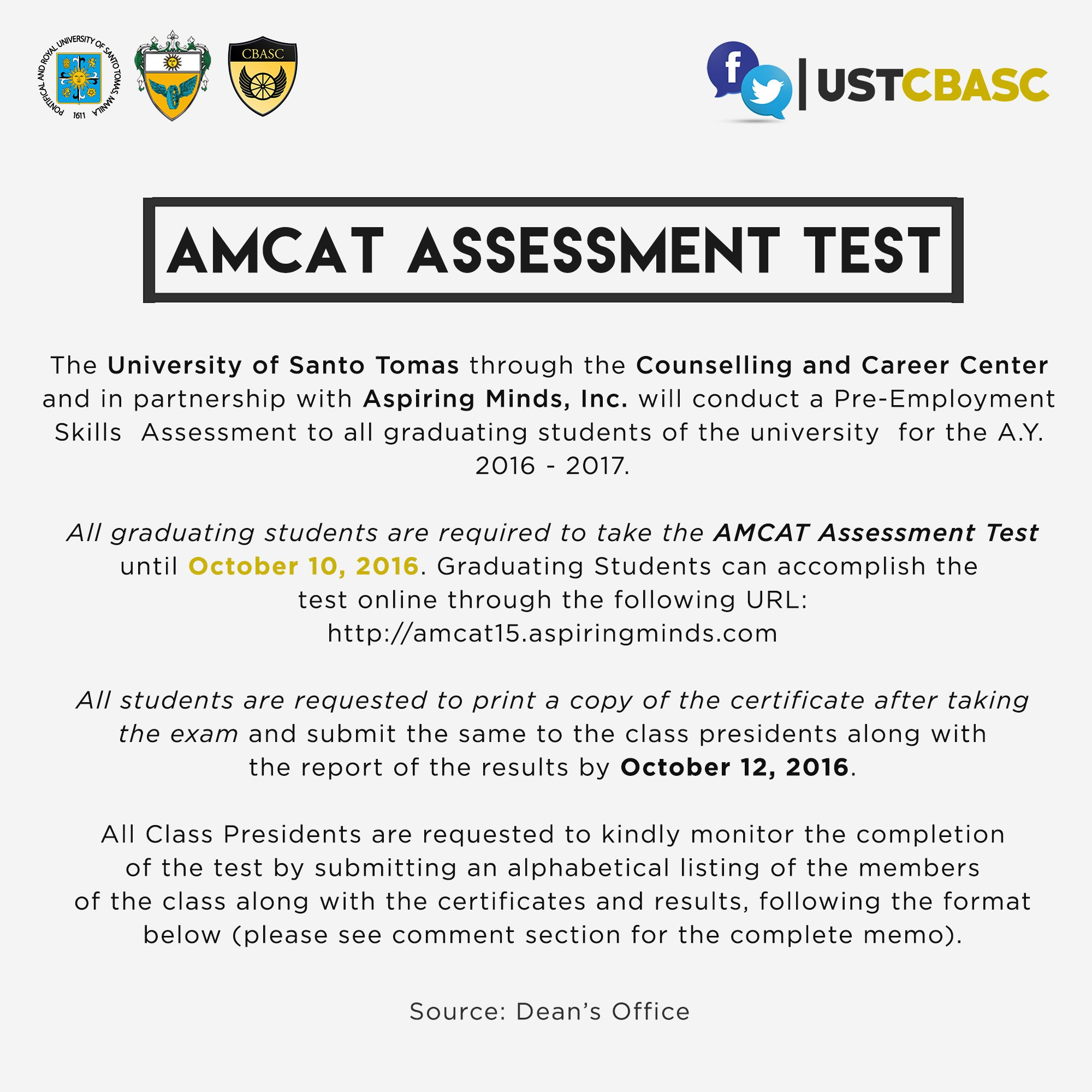 ust cbasc on cbascadvisory amcat assessment test ust cbasc on cbascadvisory amcat assessment test graduating students please take note full details t co 5yghfdnpgl