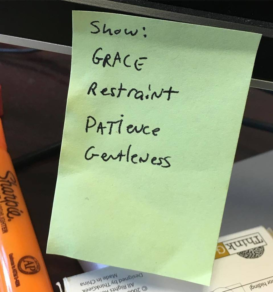 Grace and green sticky notes