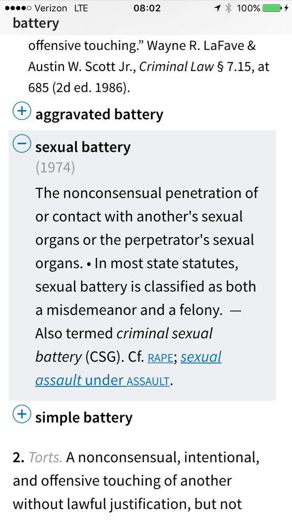 Define sexual battery law