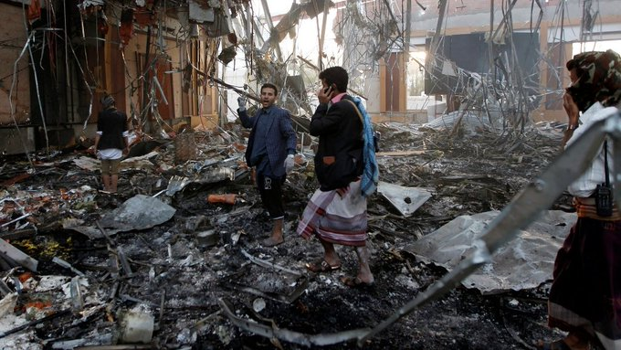 Image result for Scores killed in Saudi-led airstrike on Yemen funeral