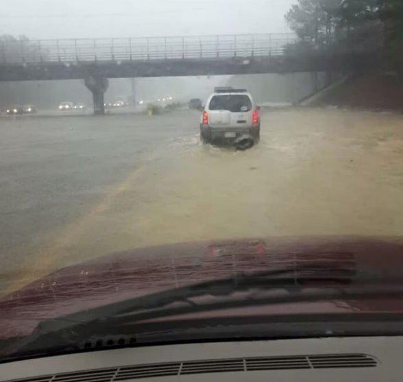 I-95 near Fayetteville, NC a surreal scene. (HT @EricZerkel) #Matthew #flood https://t.co/opgMUCSjE2 https://t.co/8BY5YJl45F