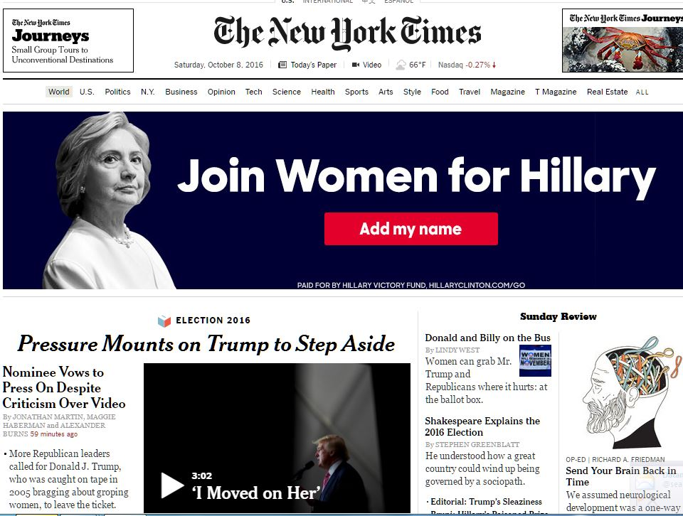 Hillary Clinton ad sits like a heavy anvil atop devastating @nytimes Trump headline tonight https://t.co/ofFsgx4Gld