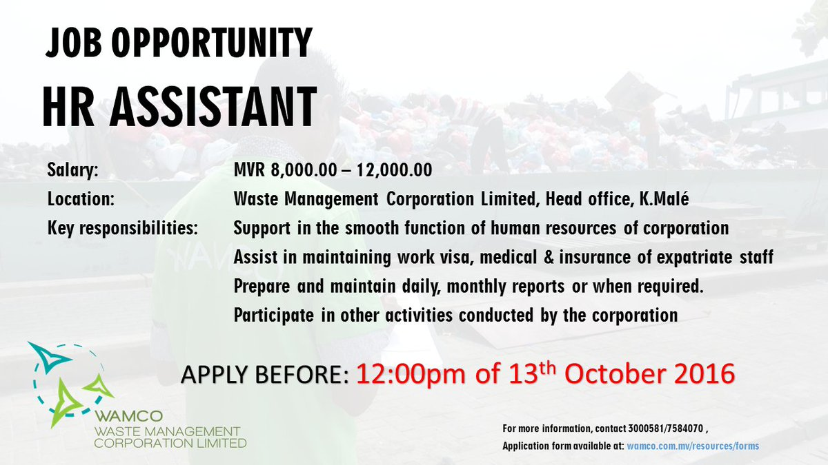Wamco On Twitter Jobopportunity Ops Officer Mechanic Hr Assistant