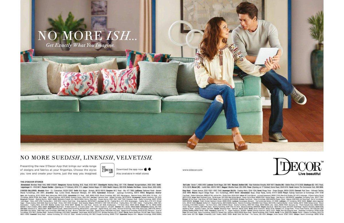 New D Decor Print Ads Featuring Shah Rukh Khan Gauri Khanpic Twitter A9etvgkf6b
