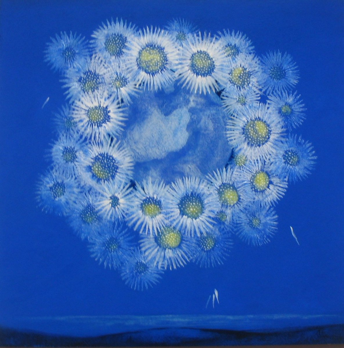 &#39;Daisy Lace Moon&#39; by @feclarkart 2016 Acrylic on board, available, 30cm x 30cm. #painting #fullmoon #daisy #blue #imagine #ScottishArtists <br>http://pic.twitter.com/GpsBj2LPGj