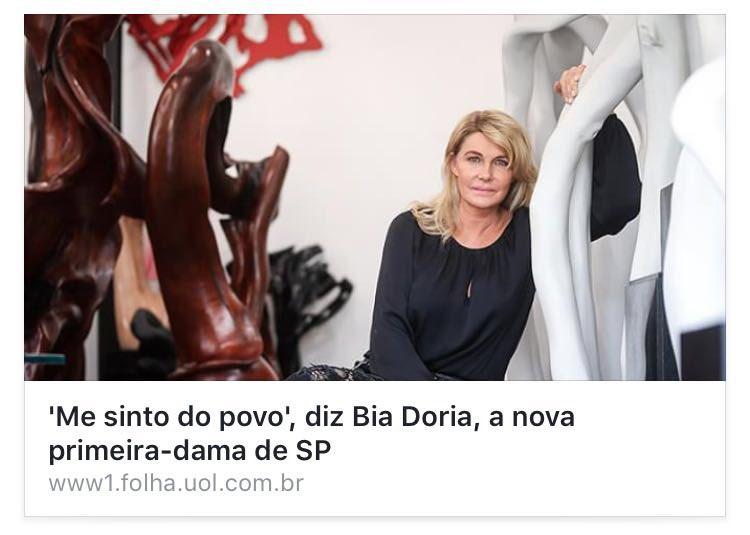 Bia Dória: 'Me sinto do povo'. Do povo do Itaim e dos Jardins!