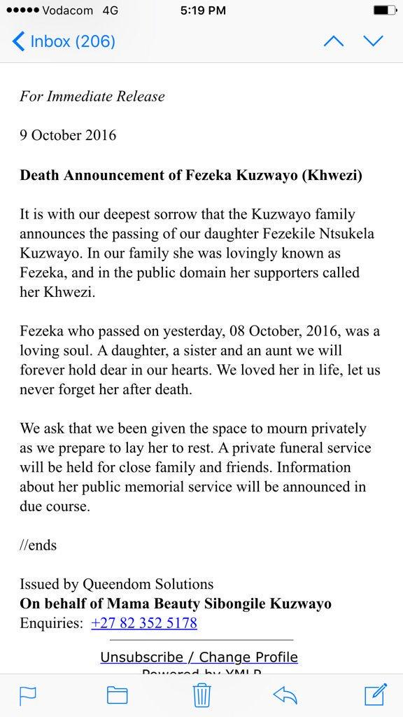 #Khwezi This is sad news. https://t.co/8guV4cSLqw https://t.co/lMKlJFNhYh