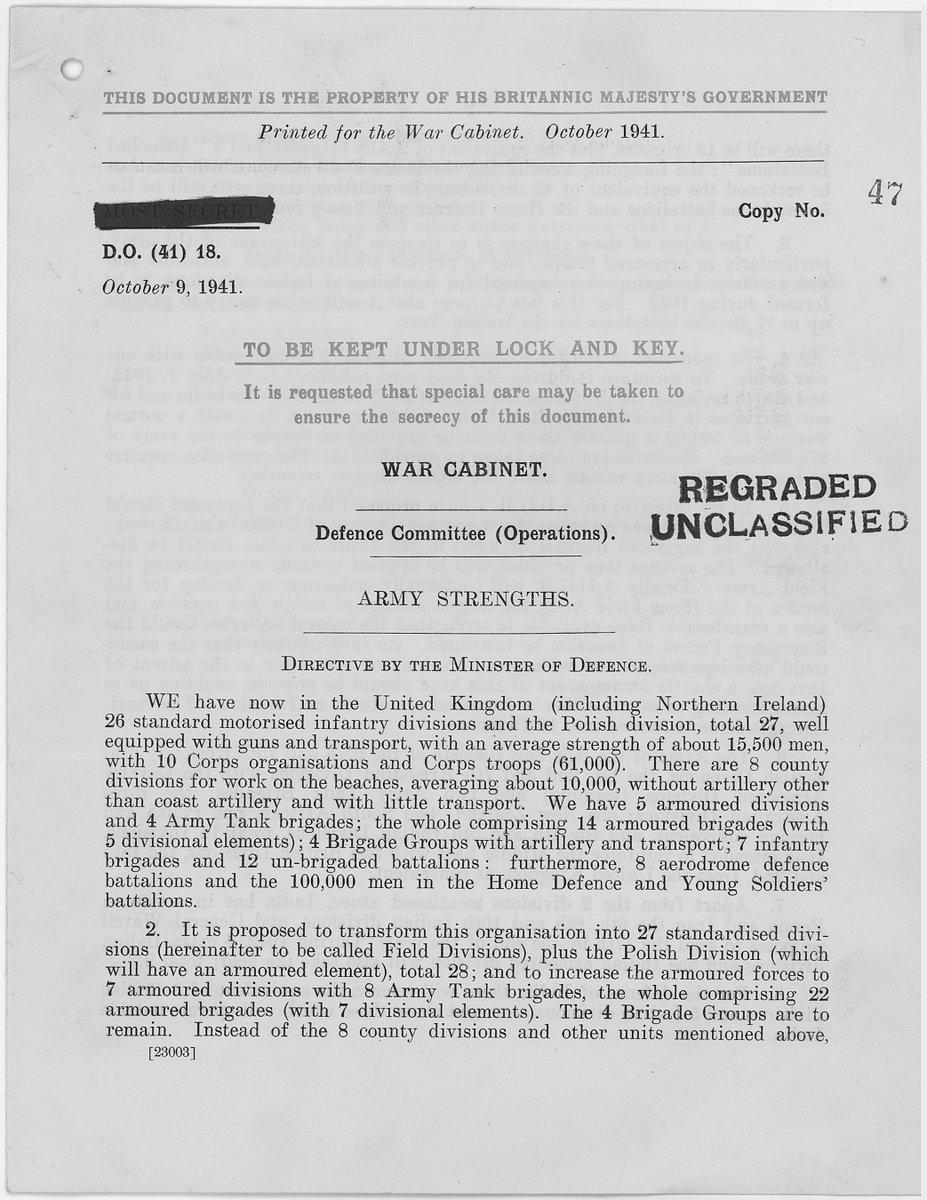 Top Secret document to British War Cabinet lists troop strengths amidst #WW2, 75 yrs ago #TDiH 1941 ...