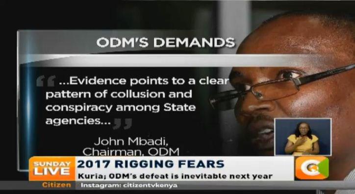 Mbadi: we demand answers on elaborate rigging plan