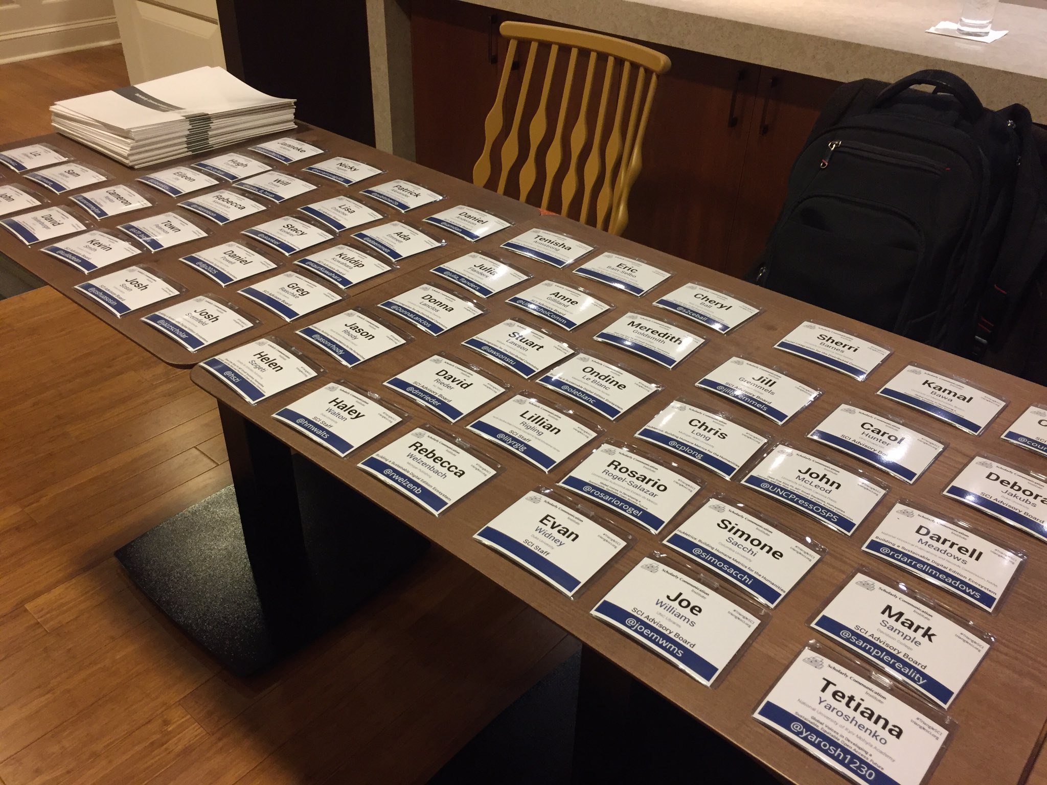 Badges are laid out and we're ready to go for #TriangleSCI It's on! https://t.co/Po4FmPyDQG