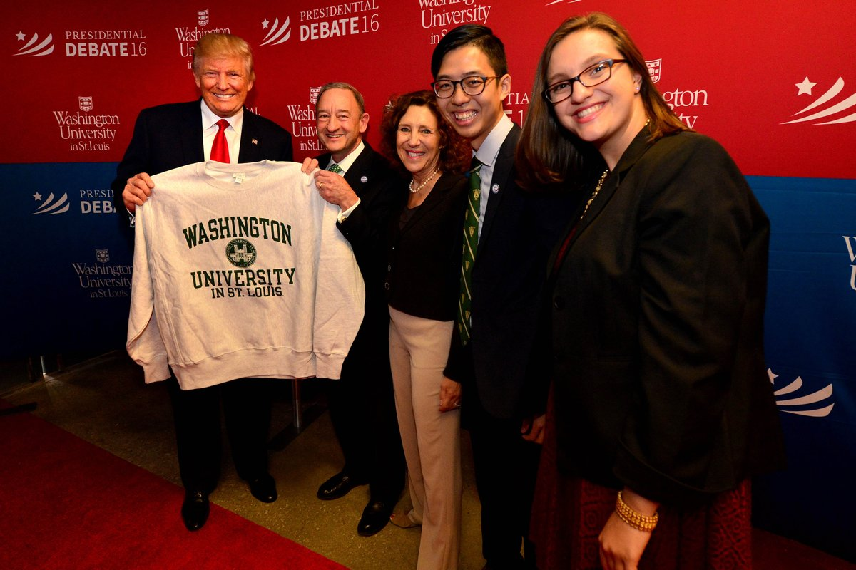 Presidential Candidate @realDonaldTrump has arrived at the Debate Hall. #WashUdebate2016 https://t.co/rHSpL4ie62