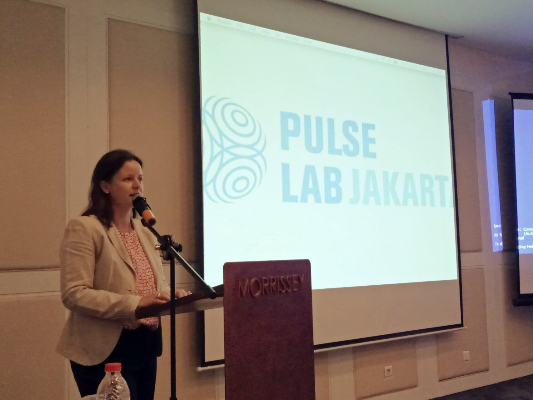 Head of Pulse Lab Jakarta, @dervalausher on the stage to welcome everyone at the workshop #DataCollab https://t.co/5a94OEeH4m