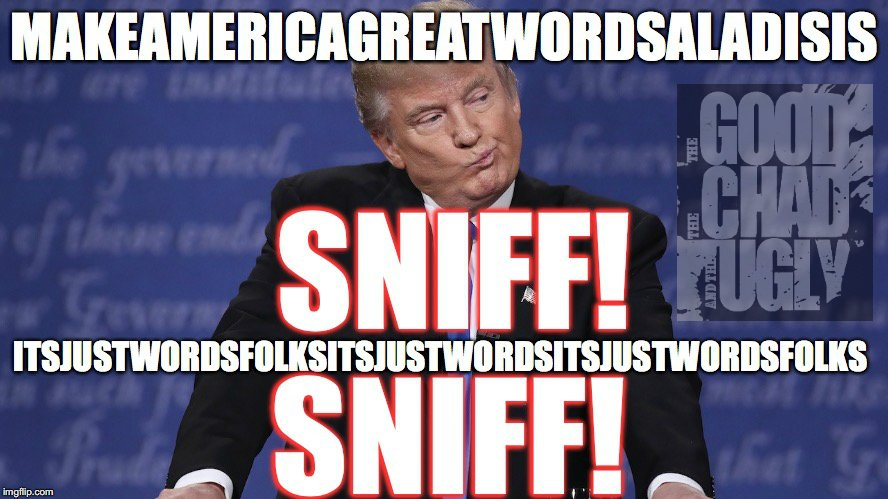 he's going 2 strokeout RT @ChadMac19: Donald Trump has gone insane.  #sniffles #nohandshake #debate #debate2016 https://t.co/cOnEk7ZfQI