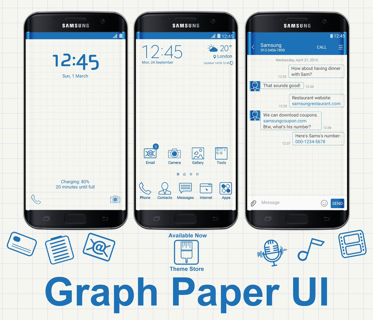 anup rode on twitter graph paper ui theme available now samsung theme store and its free downloadhttpstco5565xt9hzb