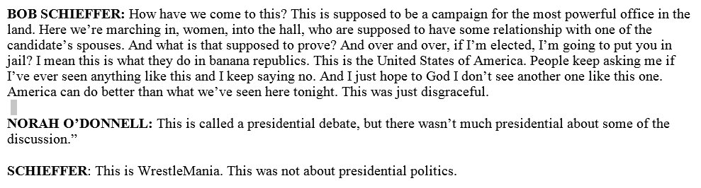 In post-debate coverage, CBS News's Bob Schieffer has some remarks about a certain candidate: https://t.co/Zwlq6QnarU