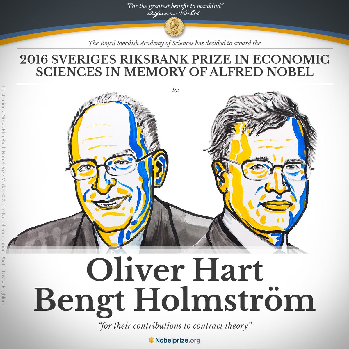 "BREAKING 2016 Prize in Economic Sci. to Oliver Hart @Harvard & Bengt Holmström @MIT ""for their contributions to con… https://t.co/dvlHPJB1bI"