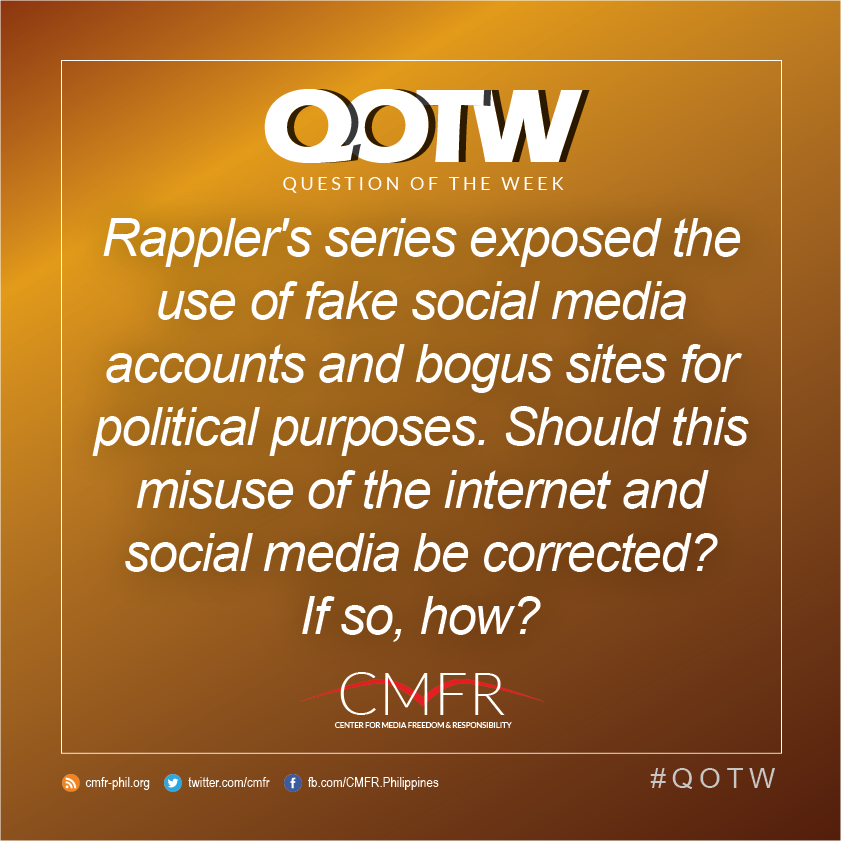 Thumbnail for QOTW: Rappler exposed the use of fake online accounts and bogus sites for political purposes. Should this be corrected?
