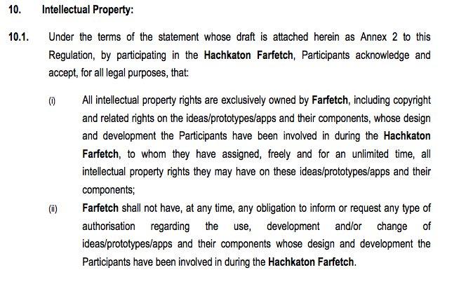 quem estiver a pensar participar na #hackathonfarfetch que leia os termos e condições https://t.co/2ufnQ5848k
