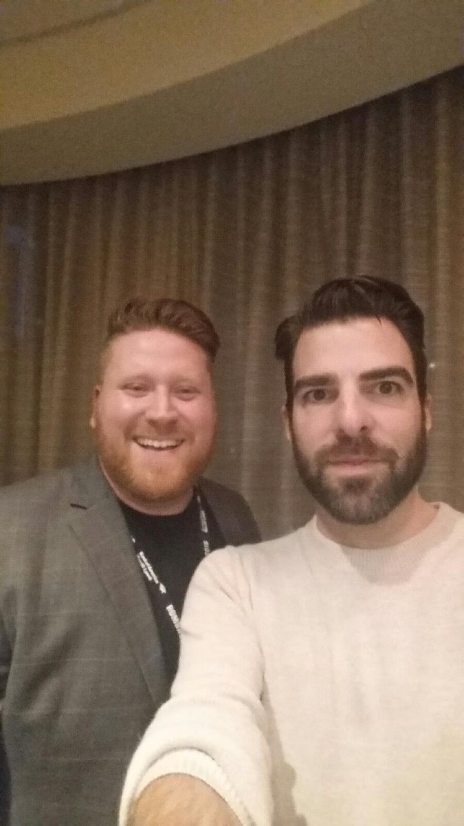 Andrew Gilchrist, 2018 MBA candidate and ROMBA fellow, met Zachary Quinto at #ROMBA2016 on Friday night! @ReachingOutMBA
