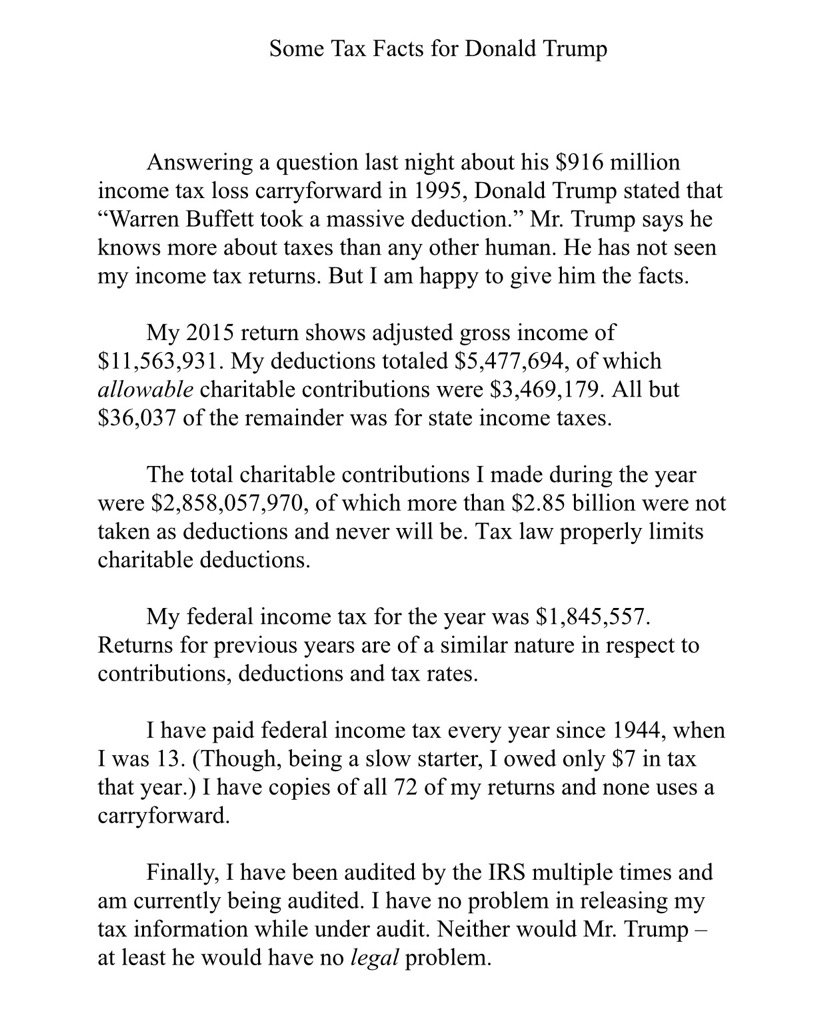 Warren Buffett responds to Trump, on taxes:  #debates https://t.co/9T5Ov6MRir