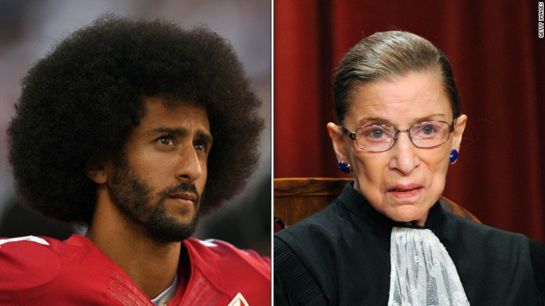 "Justice Ruth Bader Ginsburg on Colin Kaepernick protests: ""I think it's dumb and disrespectful"" https://t.co/NgRgjv4Azl https://t.co/5GWBNnbnxX"