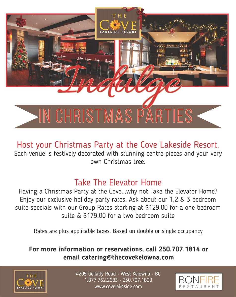 Cove Lakeside Resort On Twitter Host Your Christmas Party Covelakeside Take The Elevator Home Call 250 707 1814 For More Info Indulgeinchristmas Partyseason Https T Co Ervmth9tgg