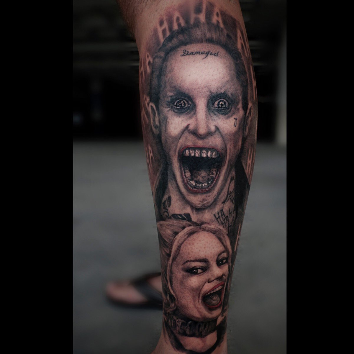 L Y Ling On Twitter Daddy S Lil Monster Leg Sleeve In Progress Tattoo Suicidesquad Suicidesquadtattoo Jokertattoo Harleyquinn